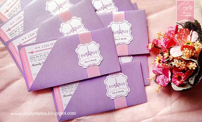 Wedding card malaysia crafty farms handmade paris themed purple purple and pink paris themed wedding invitation card klang selangor kuala lumpur stopboris Choice Image