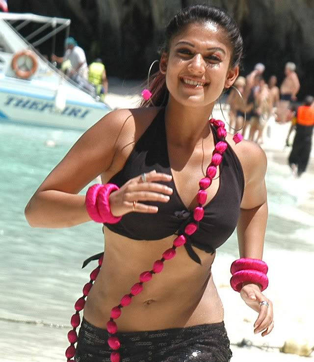 nayanthara hot deep sexy wet bikini navel exposing