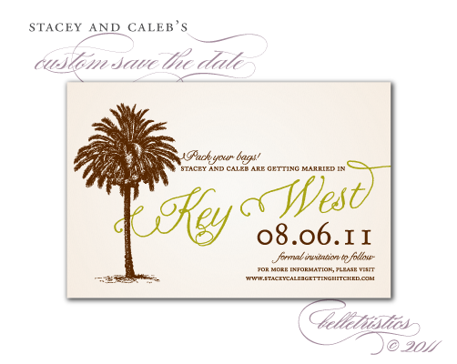 custom vintage palm tree save the date diy printable
