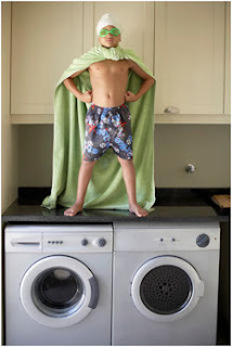 Kid Superhero on Washing Machine