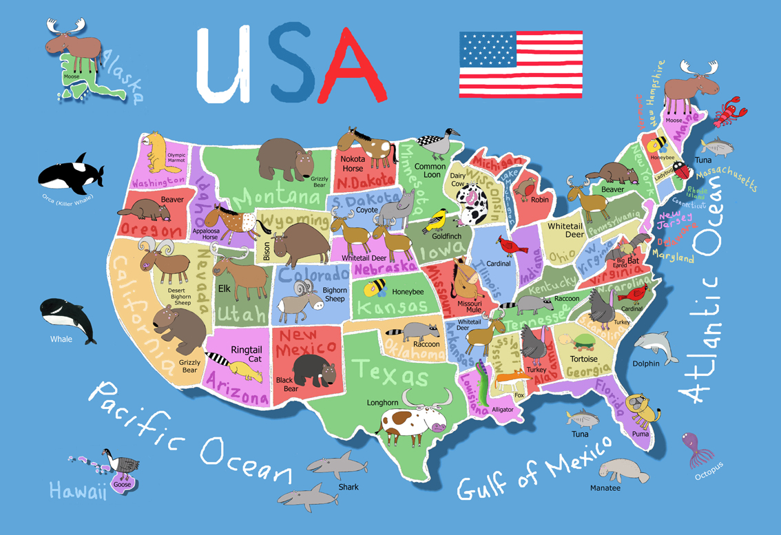 Printable Us Map For Kids Printable Maps - Map of us printable for kids
