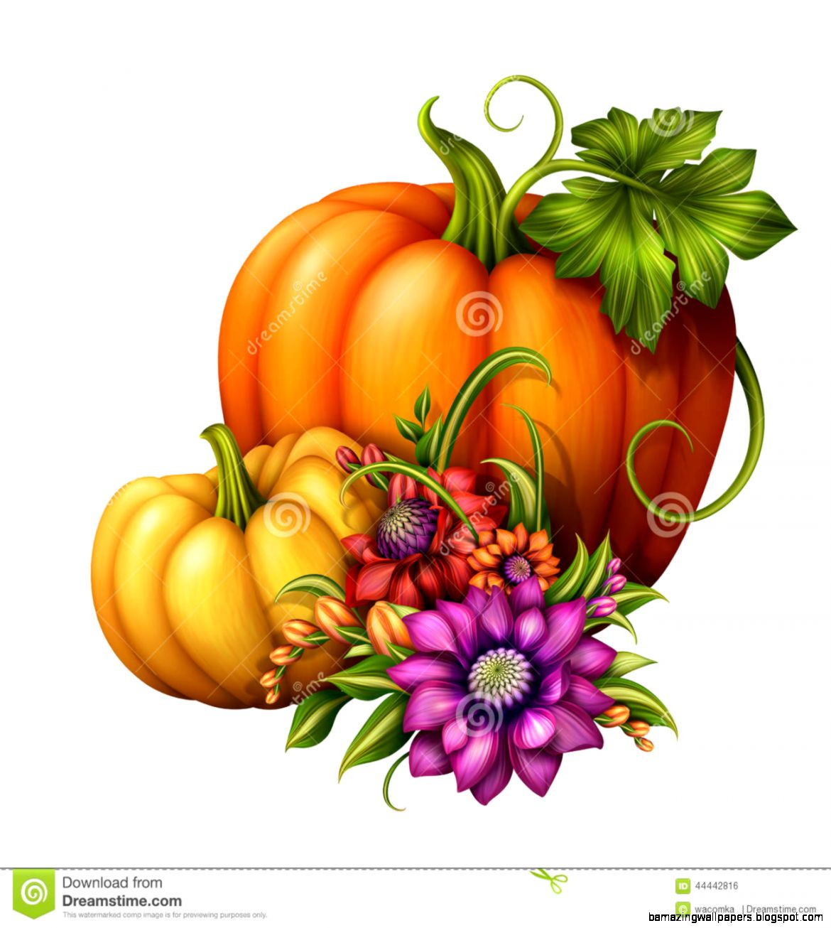 Autumn Orange Pumpkin With Green Leaf Clip Art Illustration