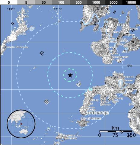 Epicentro sismo 6,1 grados en Filipinas el 29 de Diciembre 2014