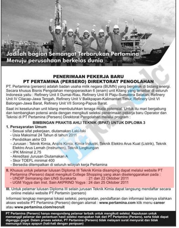 PT Pertamina (Persero) College Shopping - Semarang, Solo