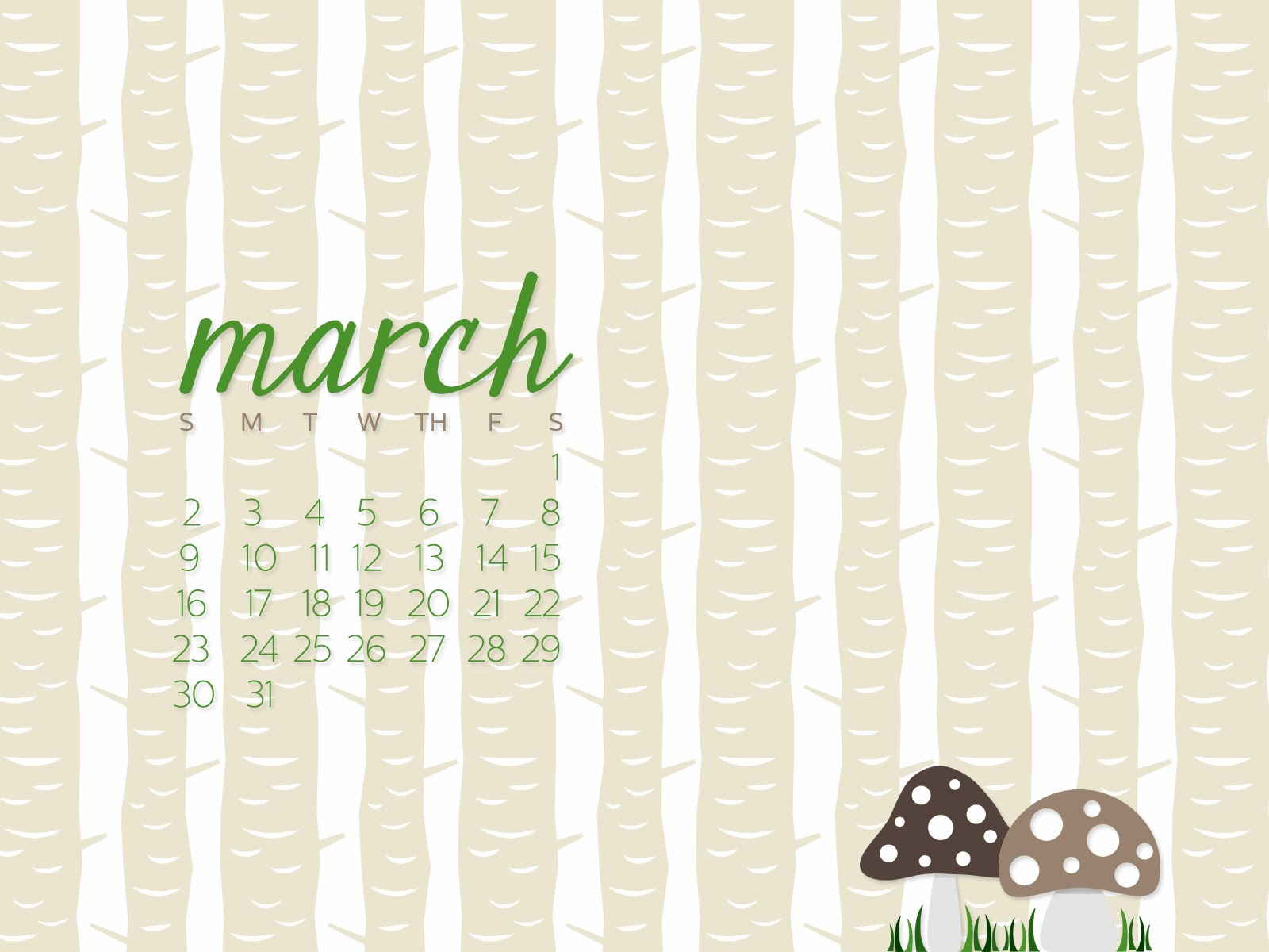 simply brenna desktop calendar march 2014