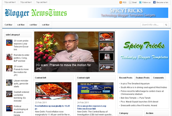 blogger news times blogger template 25+ Best Free Magazine Blogger Templates for 2013 Download