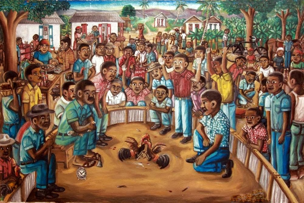 Haitianarts painting fighting roosters