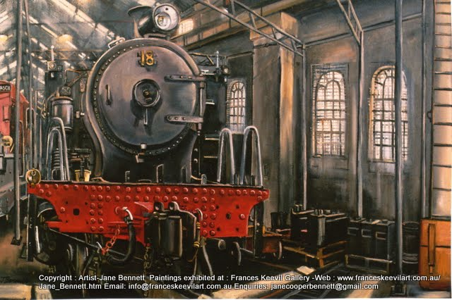 "plein air oil painting of the heritage steam locomotive ""18"" at the Large Erecting Shop, Eveleigh Railway workshops by industrial heritage artist Jane Bennett"