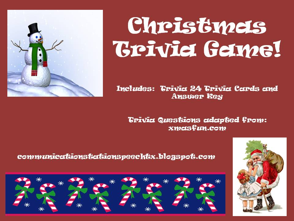 Communication Station: Speech Therapy PLLC: Christmas trivia game ...