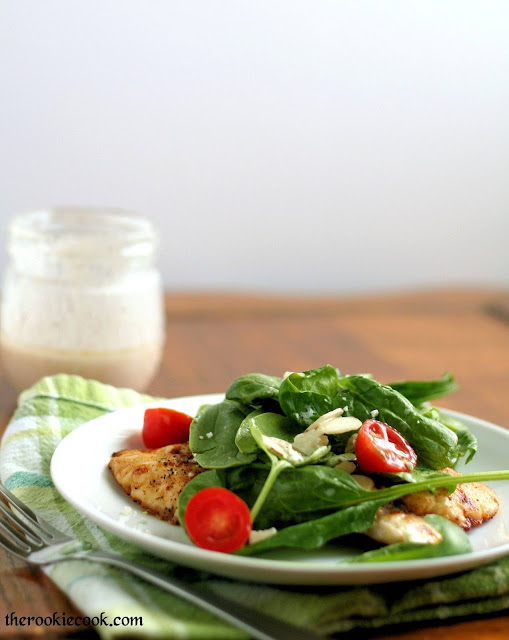 Chicken Milanese with Spinach Salad and Red Wine Vinaigrette Dressing ~ The Rookie Cook