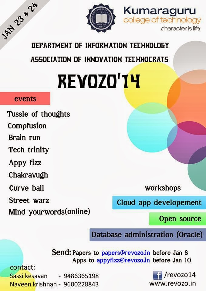 Revozo 14, Kumarguru College of Technology, Coimbatore, Techno Management Fest, Tamil Nadu, January 23-24 ,2014