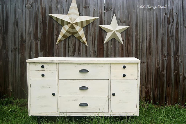 before and after distressed dresser