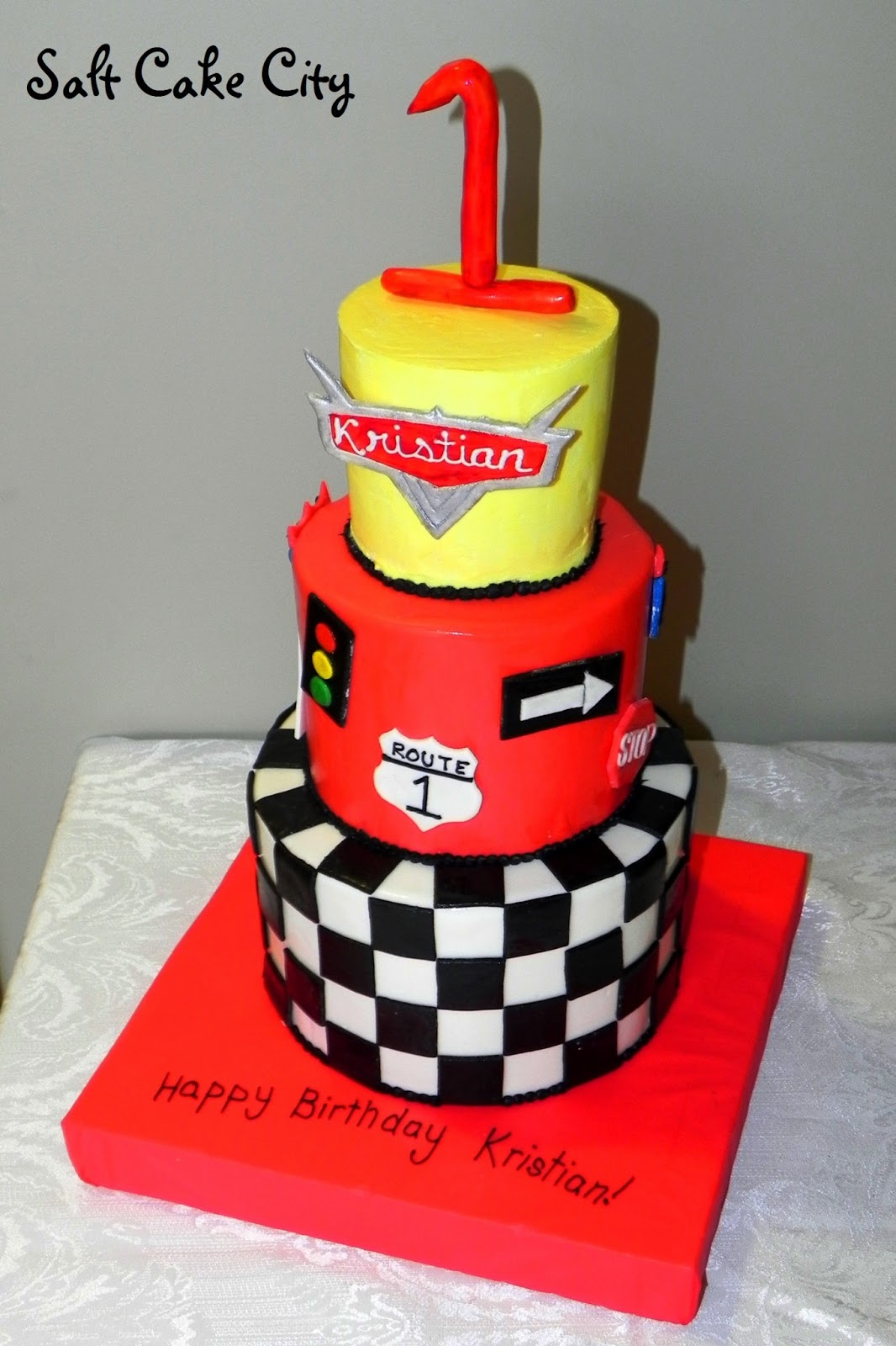 Jana Wanted A Fun Birthday Cake For Kristians 1st She Was Doing Cars Themed Party From The Disney Movies And So We Came Up With This Design