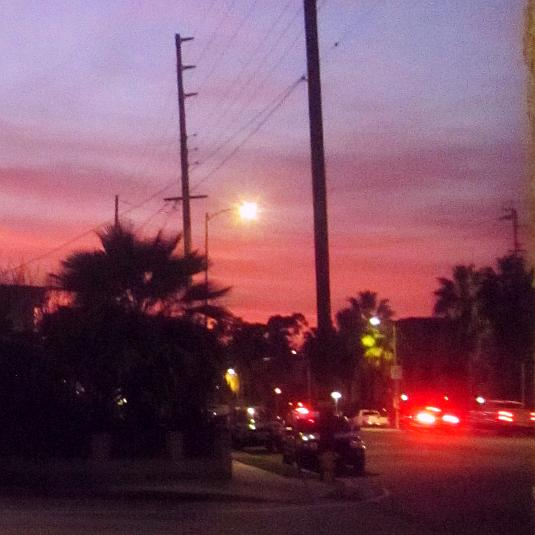Sunset, Purple Sky, Red Tail Lights, Twilight