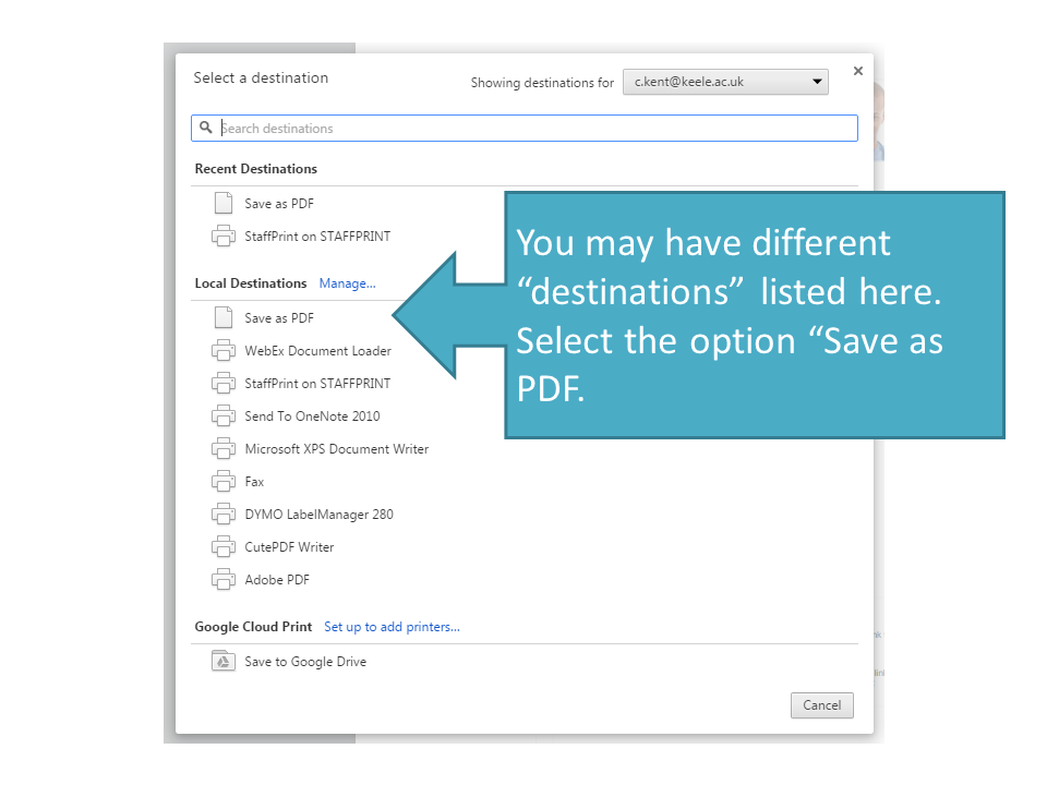 chrome wants to save pdf and not print