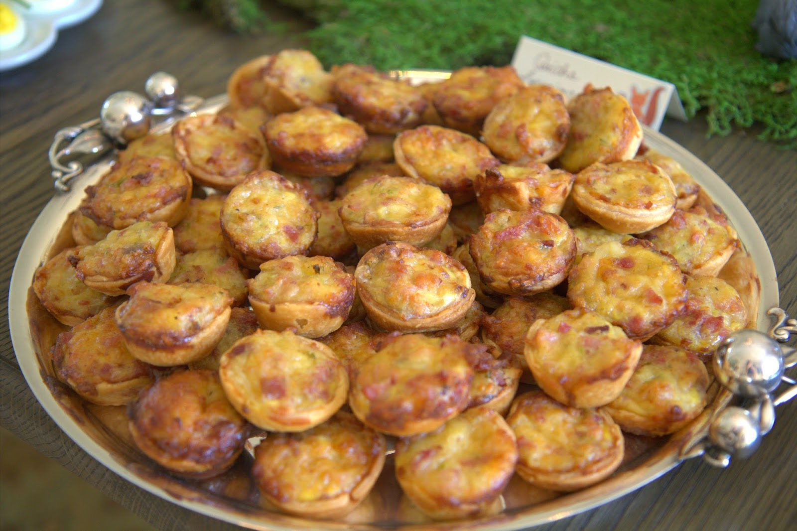 Woodland Party; mini quiche lorraines; party food: Nora's Nest