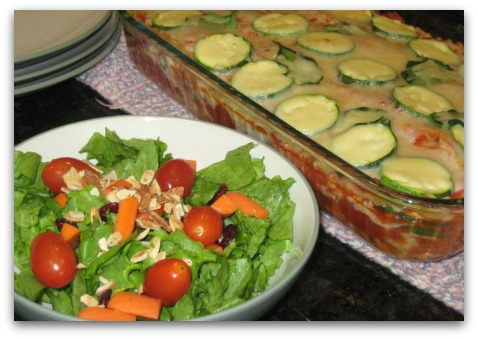 spinach and zucchini lasagna and veggie side salad