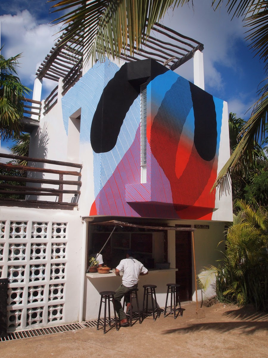 MOMO Starts 2014 with a brand new street art mural at the Residence Gorila in Tulum, Mexico. 1