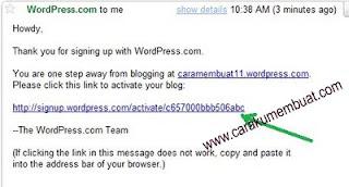 email konfirmasi dari wordpress
