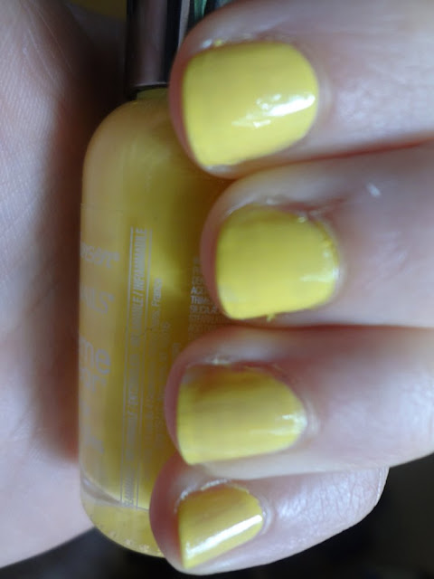 Sally Hansen Mellow Yellow Swatch, second coat, aka Bailey