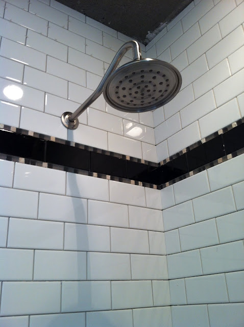 subway tile shower gooseneck shower head
