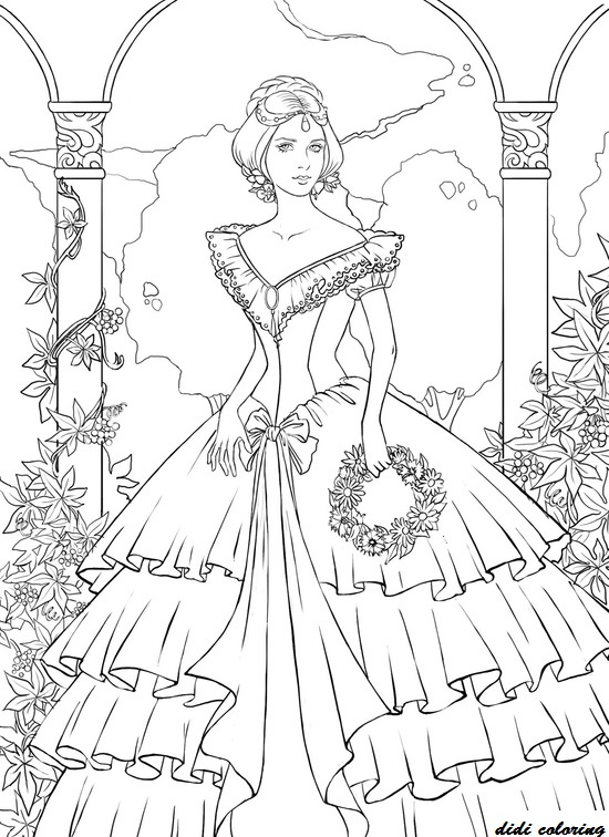 Printable Young Princess Standing Among Flowers Coloring Page For Girls