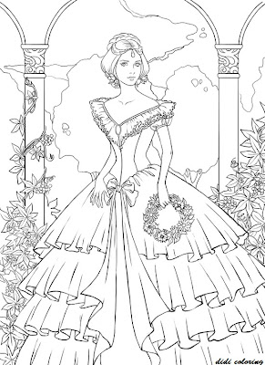 Page: printable young princess standing among flowers coloring page