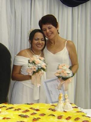 Susane Borges e Noemi Miranda, em cerimônia de união na Igreja da Comunidade Metropolitana (Foto: Arquivo Pessoal)