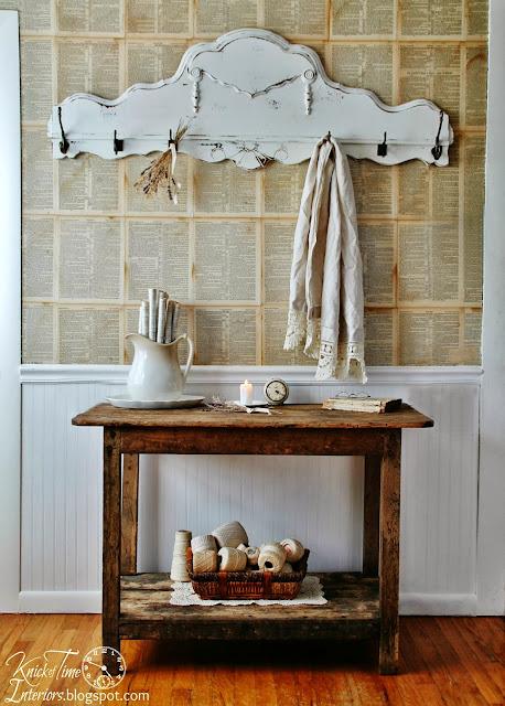 repurposed antique footboard coat rack - www.knickoftime.net