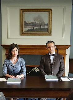 Lizzy Caplan y Michael Sheen en Masters of Sex
