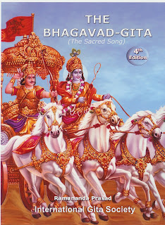 Bhagvad Gita cover with image of Krishna and white horses
