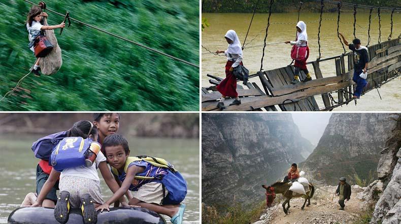 25 de los viajes más peligrosos e inusuales a la escuela en el mundo