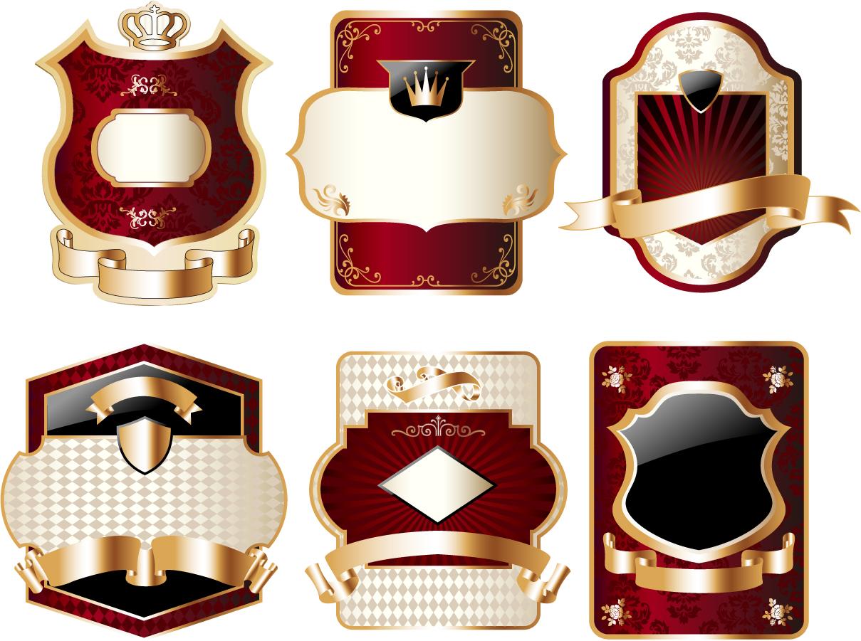 お洒落な金色のワイン ラベル stickers and labels wine vector イラスト素材2