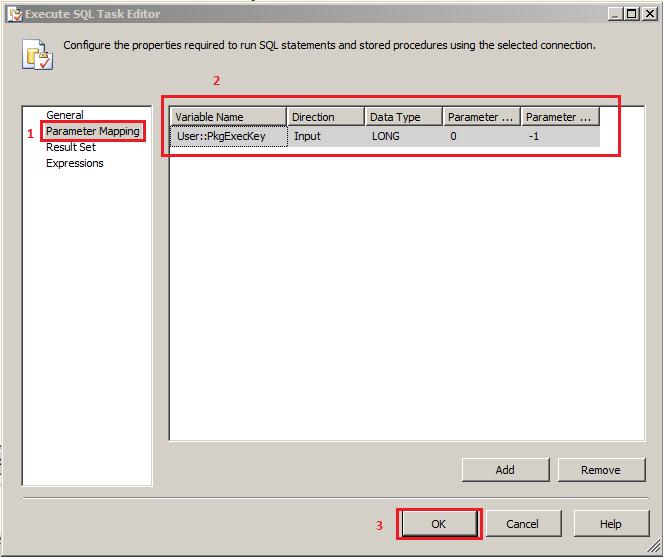 execute sql task stored procedure input parameters