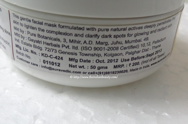 aura vedic ritual skin lightening mask price