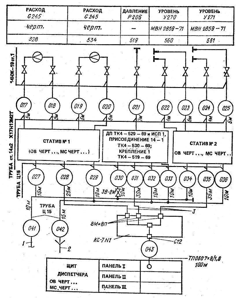 Схема труб и арматуры
