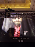 Chris Ferguson's banner, hanging in the Amazon Room at the Rio All-Suite Hotel and Casino