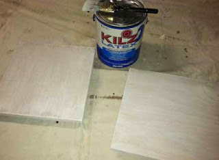 Prime boards with Kilz latex primer | A Crafty Wife