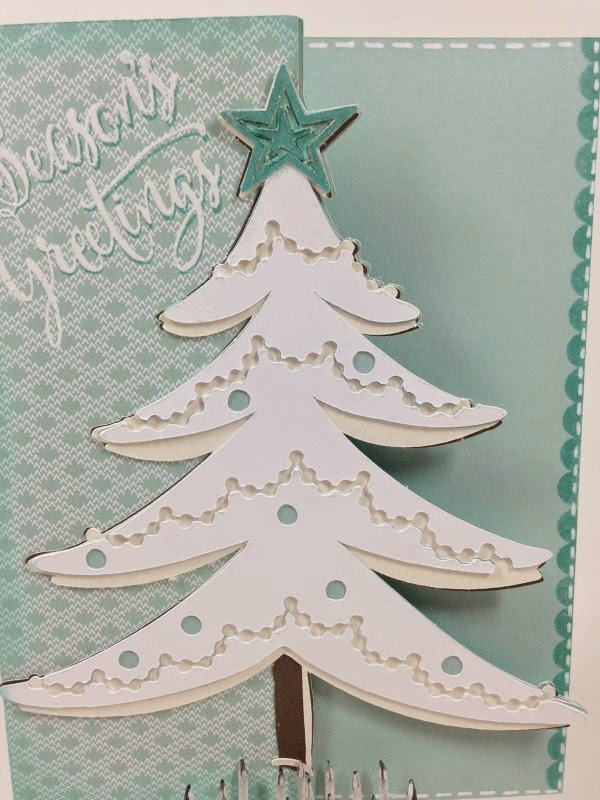 Cricut White Christmas Tree card closeup