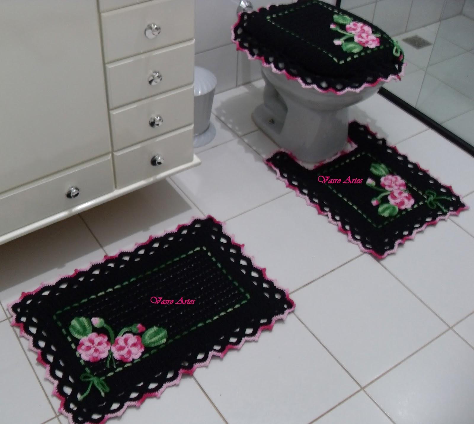 : Jogo de Tapetes de Crochê para Banheiro Jogo de Tapetes Carolina #693747 1600 1431