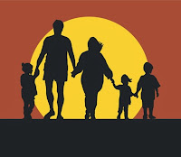 A family is going back to home at the time of sunset