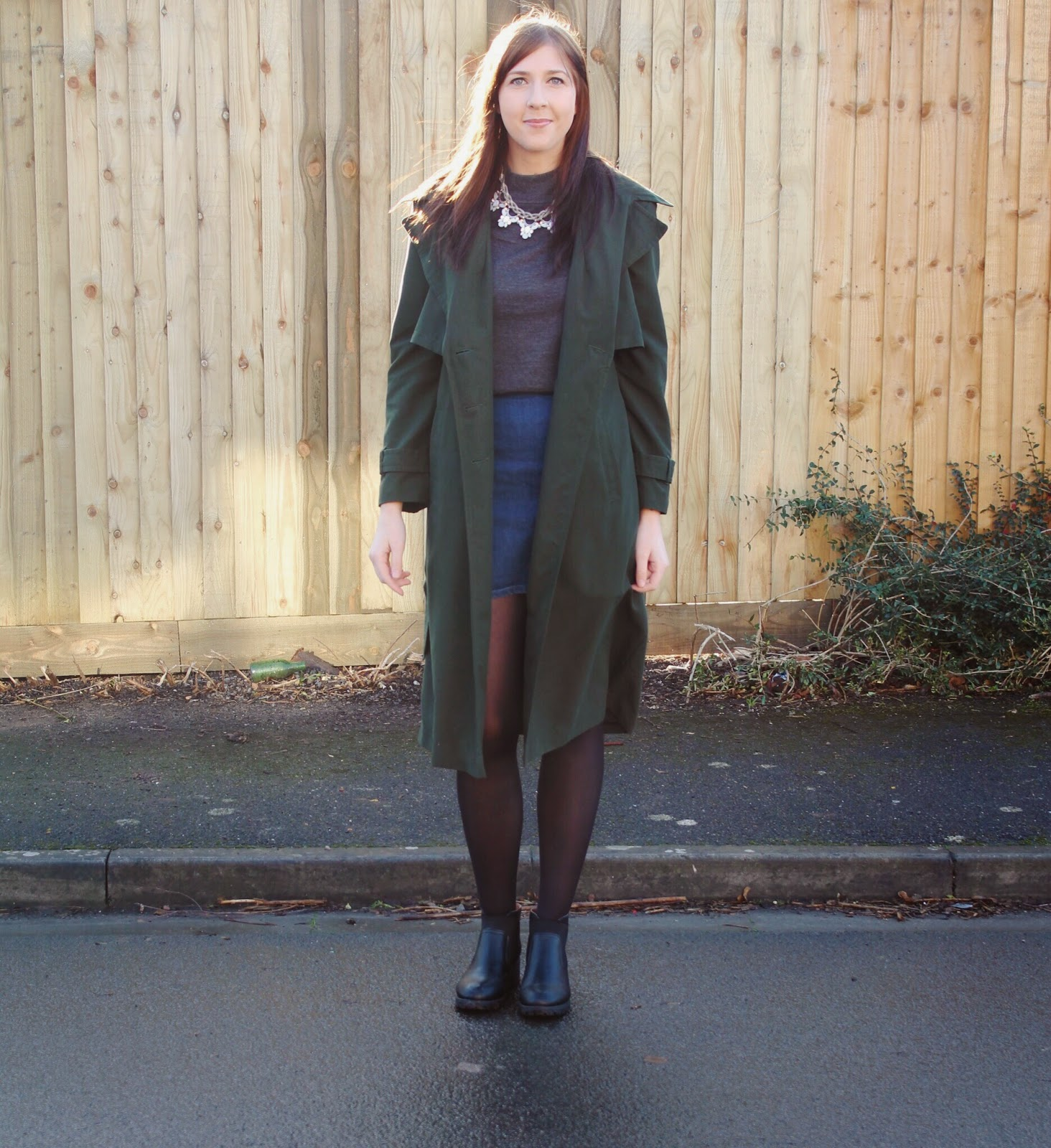 asseenonme, asos, primark, trenchcoat, wiw, whatimwearing, ootd, outfitoftheday, lotd, lookoftheday, alineskirt, denimskirt, rollneck, fbloggers, fblogger, fashionbloggers, fashion, chelseaboots, necklace,  halcyonevelvet