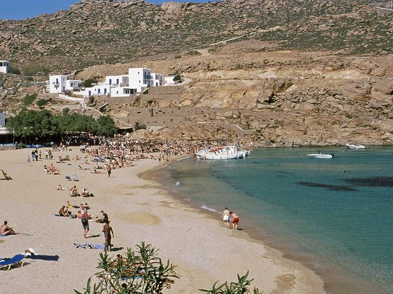 Photo de la plage Super Paradise sur l'île de Mykonos en Grèce