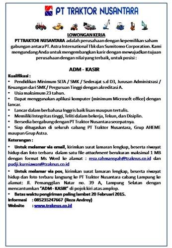Lowongan Kerja PT. Traktor Nusantara