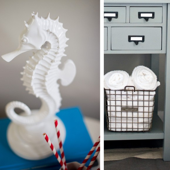 The seahorse decor adds a beach element to the guest room.