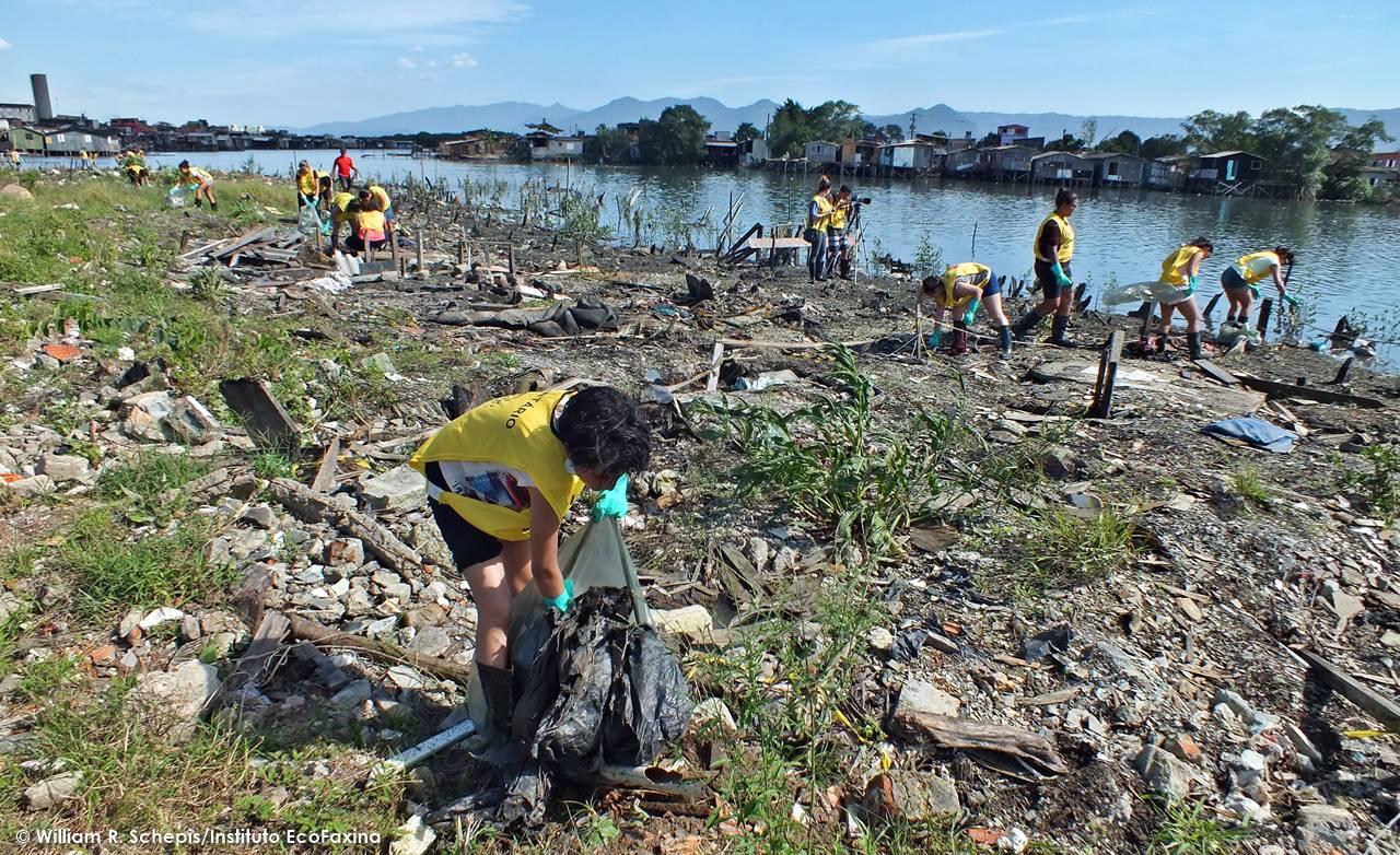 A 62ª Ação Voluntária EcoFaxina reuniu 31 voluntários que retiraram 602 kg de resíduos em área degradada de mangue na Zona Noroeste de Santos.