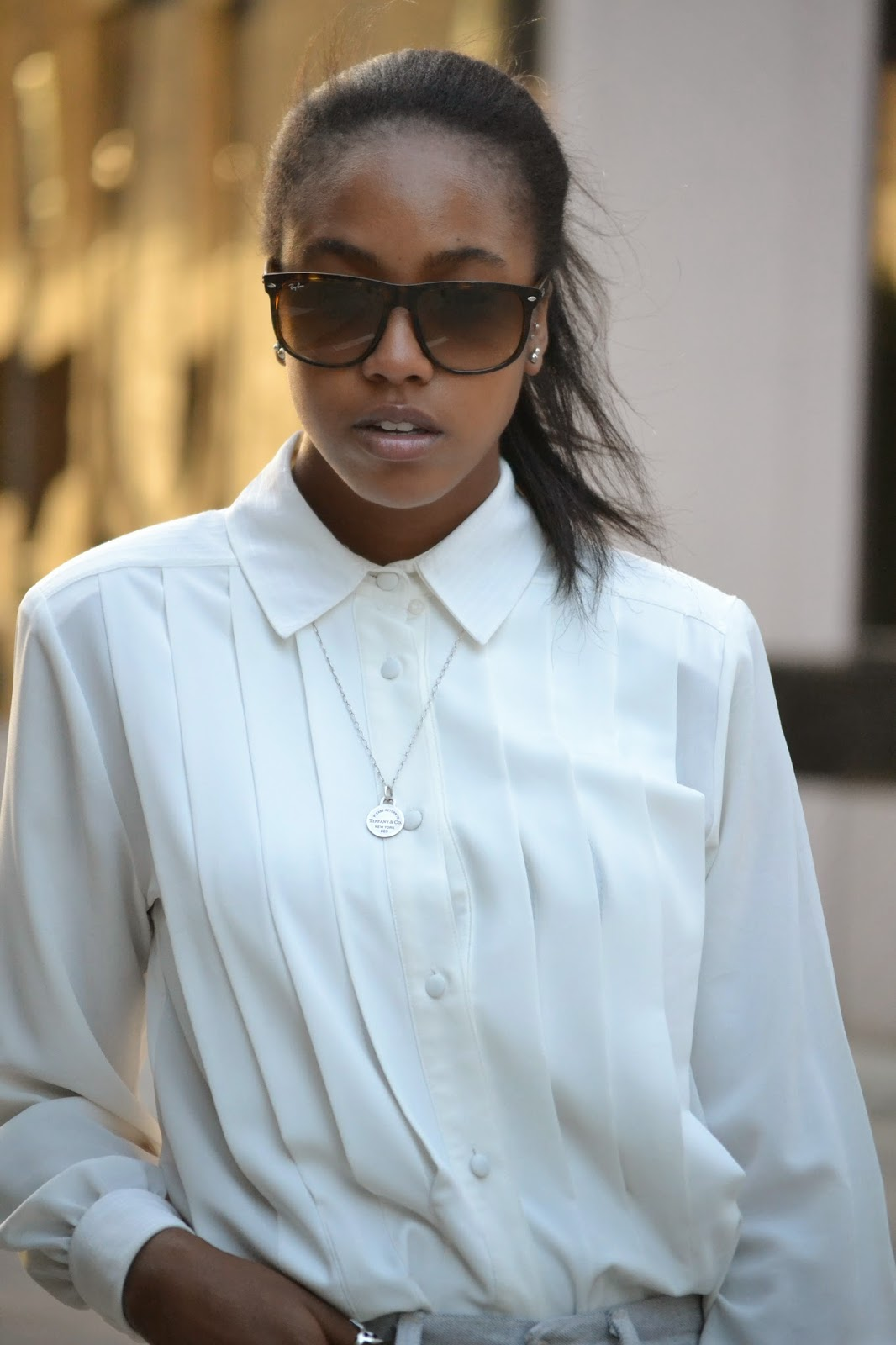 Ray Ban sunglasses Vintage Pleated Valerie Stevens blouse Tiffany Co necklace