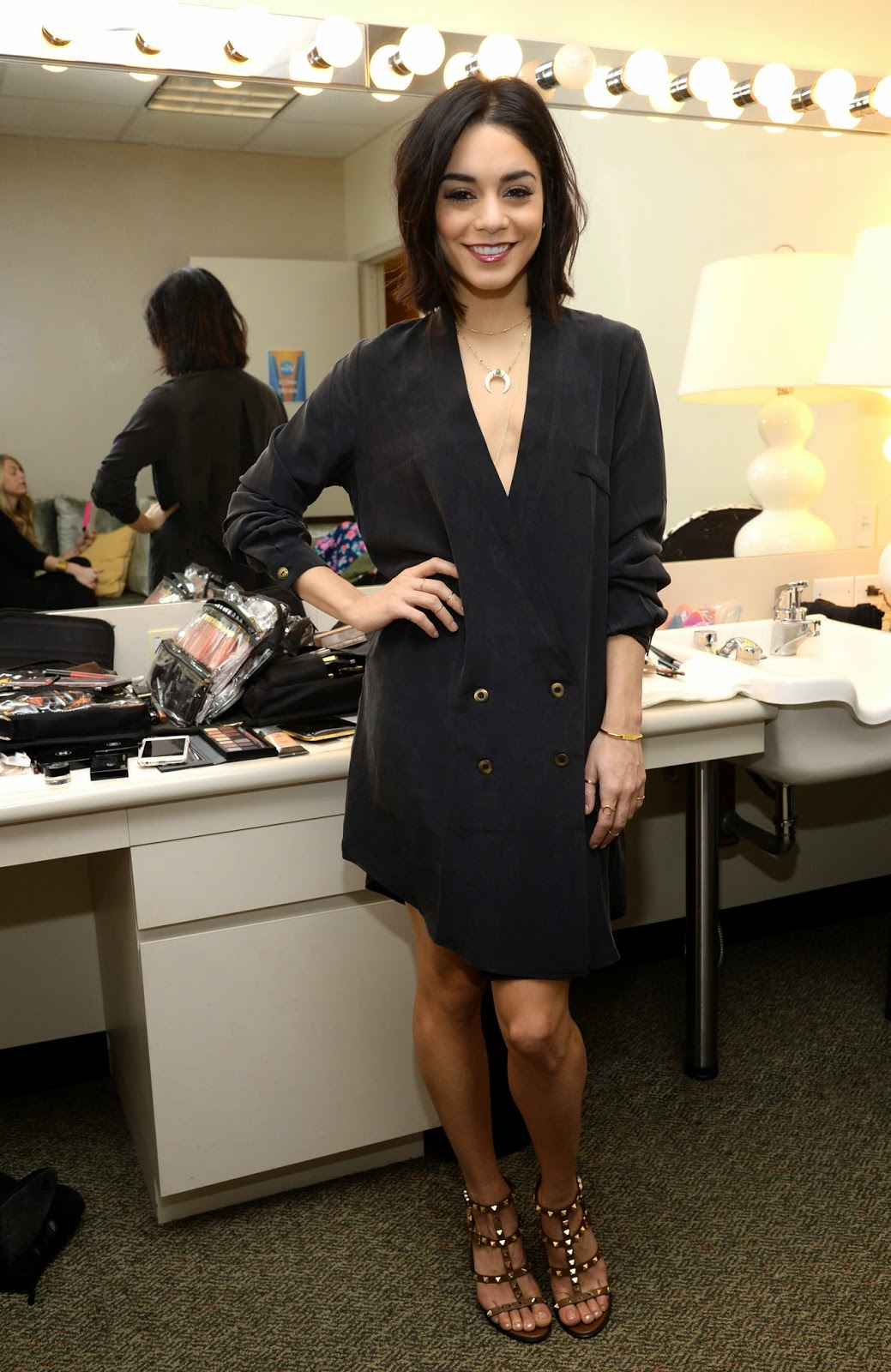 Vanessa Hudgens at the abc studios make up room