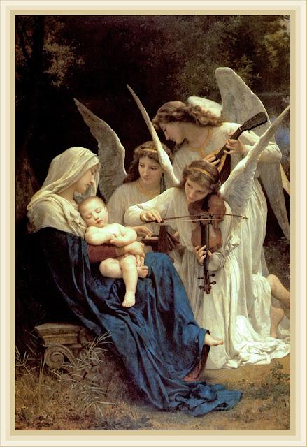 virgen con el niño y ángeles músicos de Bouguereau