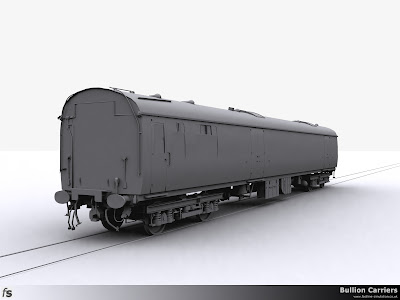 Fastline Simulation - Bullion Carriers: An in development render of the NWX Bullion Van for Train Simulator 2014. The B5 bogies are now virtually complete and just need some rivet and bolt head details to complete.